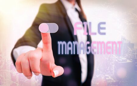 Writing note showing File Management. Business concept for computer program that provides user interface to manage data