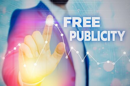 Writing note showing Free Publicity. Business concept for Promotional marketing Mass media Public Relations Editorial