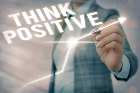 Text sign showing Think Positive. Business photo showcasing The tendency to be positive or optimistic in attitude 版權商用圖片