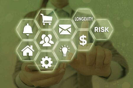 Word writing text Longevity Risk. Business photo showcasing Potential threat due to increasing lifespan of pensioners