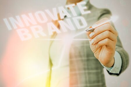 Text sign showing Innovate Brand. Business photo showcasing significant to innovate products, services and more