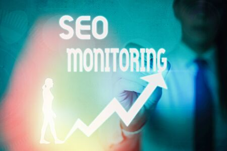 Handwriting text writing Seo Monitoring. Conceptual photo Tracking the progress of strategy made in the platform