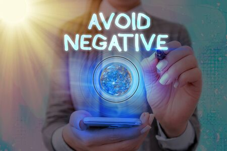 Word writing text Avoid Negative. Business photo showcasing Staying away from pessimistic showing Suspicious Depression Foto de archivo