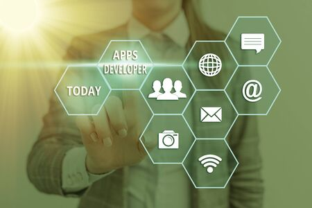 Text sign showing Apps Developer. Business photo text Graphic artist Software Programmer and Analyst Experts Banque d'images