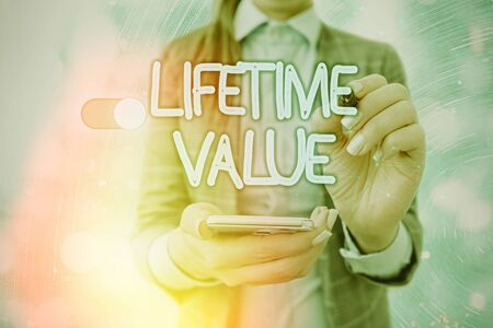 Handwriting text writing Lifetime Value. Conceptual photo Worth of the customer over the lifetime of the business