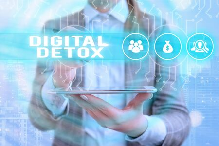 Text sign showing Digital Detox. Business photo text Free of Electronic Devices Disconnect to Reconnect Unplugged