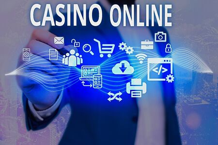 Word writing text Casino Online. Business photo showcasing Computer Poker Game Gamble Royal Bet Lotto High Stakes
