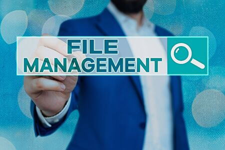 Handwriting text File Management. Conceptual photo computer program that provides user interface to manage data