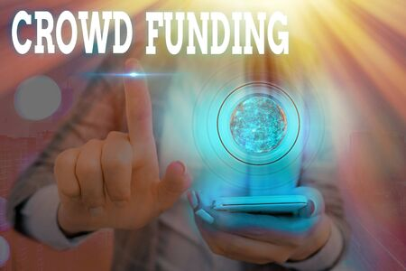 Word writing text Crowd Funding. Business photo showcasing Fundraising Kickstarter Startup Pledge Platform Donations Banque d'images