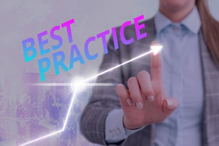 Text sign showing Best Practice. Business photo text Method Systematic Touchstone Guidelines Framework Ethic