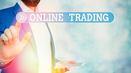 Text sign showing Online Trading. Business photo showcasing Buying and selling assets via a brokerage internet platform