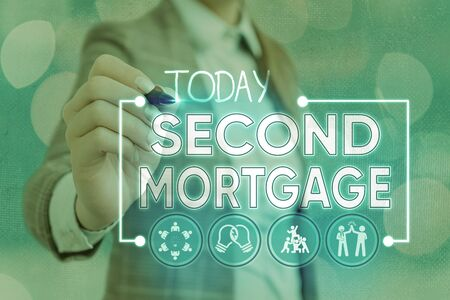 Writing note showing Second Mortgage. Business concept for lien on property which is subordinate to more senior one Stock Photo