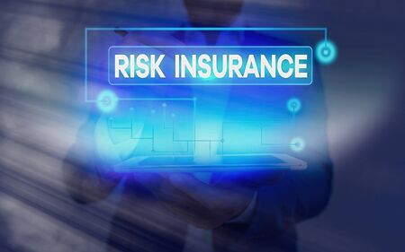 Conceptual hand writing showing Risk Insurance. Concept meaning The possibility of Loss Damage against the liability coverage