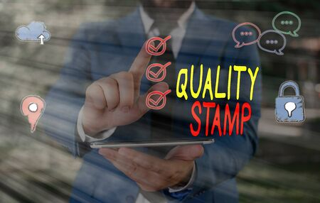 Text sign showing Quality Stamp. Business photo showcasing Seal of Approval Good Impression Qualified Passed Inspection Imagens