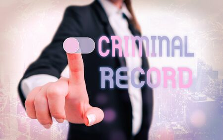 Writing note showing Criminal Record. Business concept for profile of an individual criminal history with details