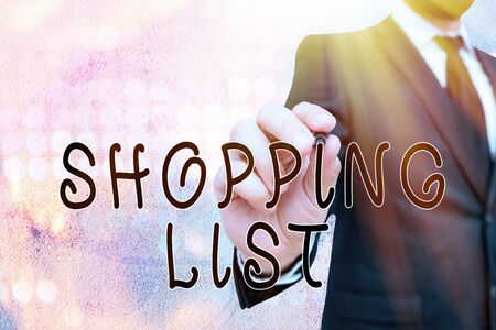 Text sign showing Shopping List. Business photo showcasing Discipline approach to shopping Basic Items to Buy