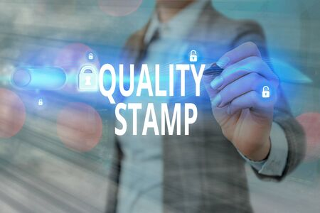 Writing note showing Quality Stamp. Business concept for Seal of Approval Good Impression Qualified Passed Inspection