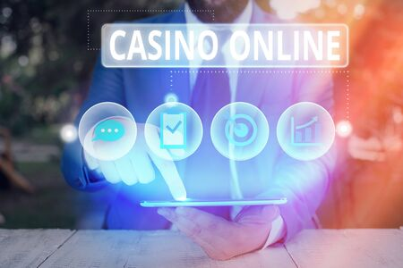 Conceptual hand writing showing Casino Online. Concept meaning Computer Poker Game Gamble Royal Bet Lotto High Stakes
