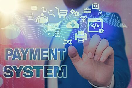 Handwriting text Payment System. Conceptual photo Compensation Scheme Method used in paying goods and services