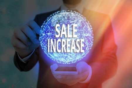 Handwriting text writing Sale Increase. Conceptual photo Average Sales Volume has Grown Boost Income from Leads
