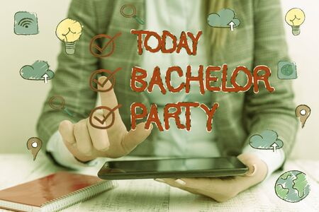 Word writing text Bachelor Party. Business photo showcasing Party given for a man who is about to get married Stag night Foto de archivo