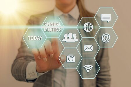 Text sign showing Annual Meeting. Business photo text Yearly gathering of an organization interested shareholders Standard-Bild