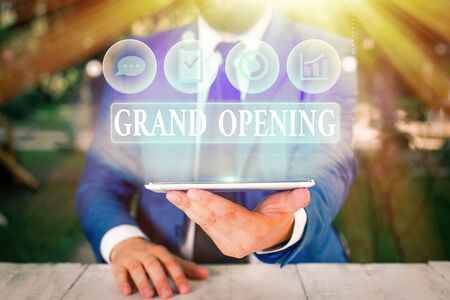 Handwriting text Grand Opening. Conceptual photo Ribbon Cutting New Business First Official Day Launching