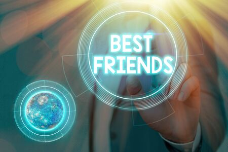 Conceptual hand writing showing Best Friends. Concept meaning A an individual you value above other an individuals Forever buddies Elements of this image furnished by NASA