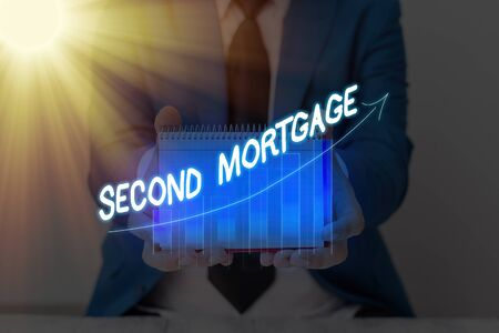 Conceptual hand writing showing Second Mortgage. Concept meaning lien on property which is subordinate to more senior one