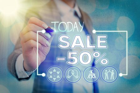 Writing note showing Sale 50 Percent. Business concept for A promo price of an item at 50 percent markdown