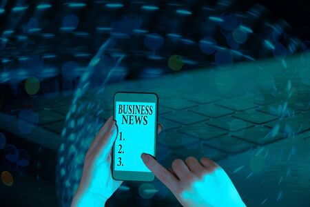 Text sign showing Business News. Business photo showcasing Commercial Notice Trade Report Market Update Corporate Insight Zdjęcie Seryjne