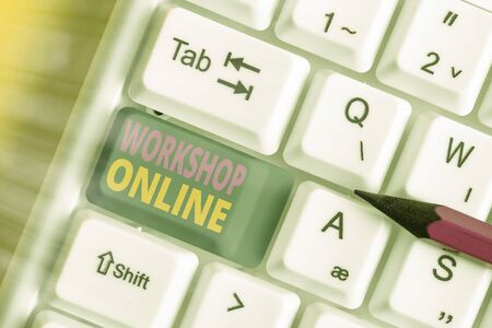 Handwriting text writing Workshop Online. Conceptual photo room or building in which goods are manufactured repaired