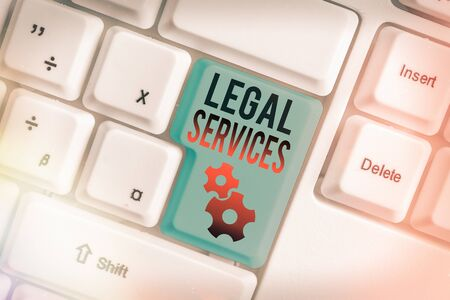 Word writing text Legal Services. Business photo showcasing Providing access to justice Fair trial Law equality