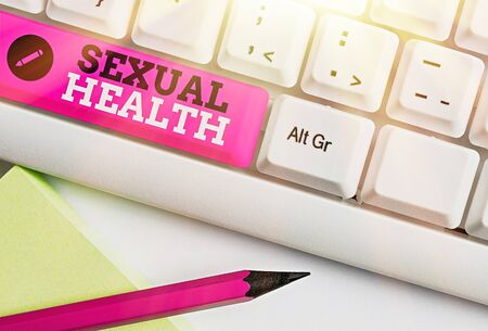 Word writing text Sexual Health. Business photo showcasing Healthier body Satisfying Sexual life Positive relationships Фото со стока