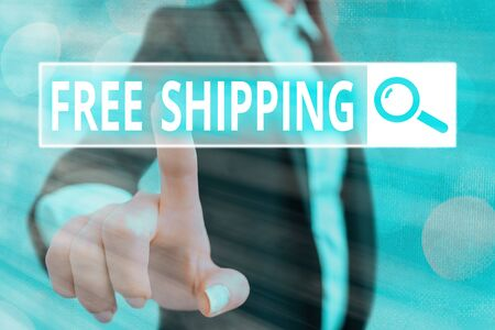 Writing note showing Free Shipping. Business concept for Freight Cargo Consignment Lading Payload Dispatch Cartage Archivio Fotografico