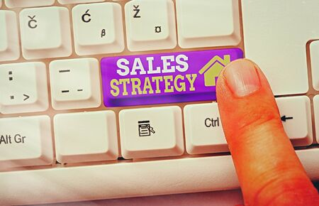 Text sign showing Sales Strategy. Business photo showcasing Plan for reaching and selling to your target market Marketing Banque d'images