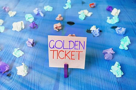 Conceptual hand writing showing Golden Ticket. Concept meaning Rain Check Access VIP Passport Box Office Seat Event