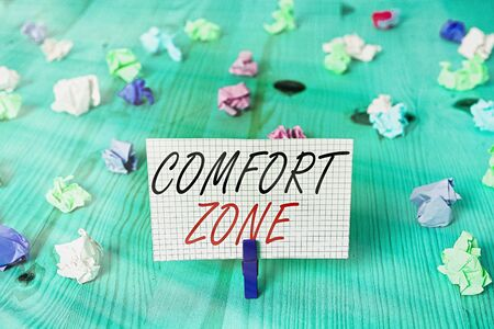 Word writing text Comfort Zone. Business photo showcasing A situation where one feels safe or at ease have Control