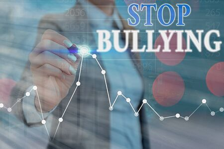 Conceptual hand writing showing Stop Bullying. Concept meaning Fight and Eliminate this Aggressive Unacceptable Behavior Banque d'images