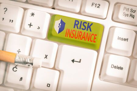 Text sign showing Risk Insurance. Business photo text The possibility of Loss Damage against the liability coverage
