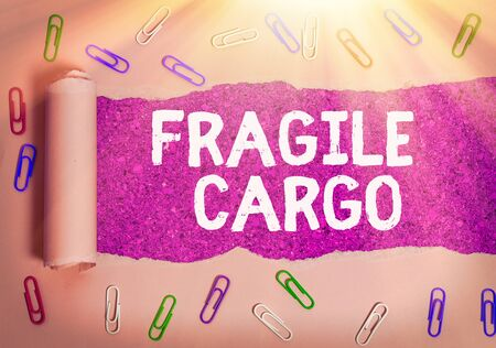 Text sign showing Fragile Cargo. Business photo text Breakable Handle with Care plastic Wrap Glass Hazardous Goods Stock Photo