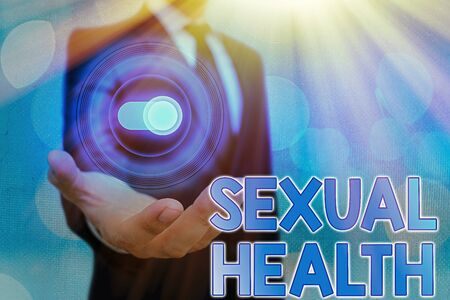 Text sign showing Sexual Health. Business photo text Healthier body Satisfying Sexual life Positive relationships Фото со стока