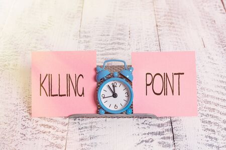 Writing note showing Killing Point. Business concept for Phase End Review Stage Gate Project Evaluation No Go Mini blue alarm clock standing above buffer wire between two paper