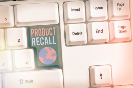 Word writing text Product Recall. Business photo showcasing Request by a company to return the product due to some issue 免版税图像