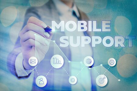 Writing note showing Mobile Support. Business concept for Provides maintenance on portable devices technical issues