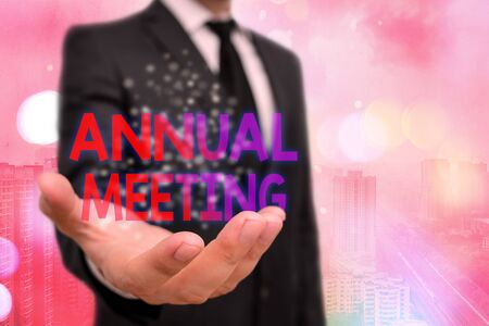 Conceptual hand writing showing Annual Meeting. Concept meaning Yearly gathering of an organization interested shareholders