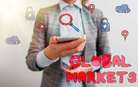 Text sign showing Global Markets. Business photo showcasing Trading goods and services in all the countries of the world 免版税图像
