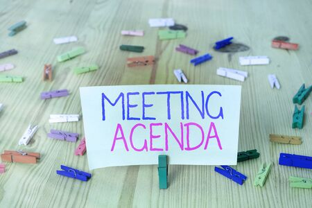 Text sign showing Meeting Agenda. Business photo showcasing An agenda sets clear expectations for what needs to a meeting
