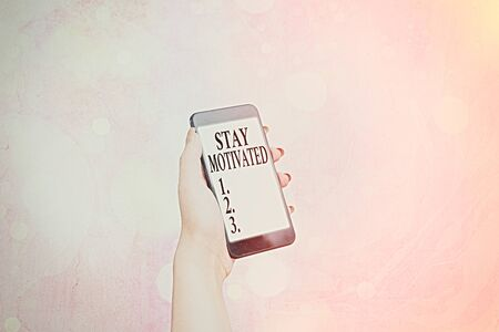 Writing note showing Stay Motivated. Business concept for Reward yourself every time you reach a goal with knowledge