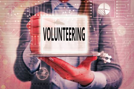 Text sign showing Volunteering. Business photo text Provide services for no financial gain Willingly Oblige